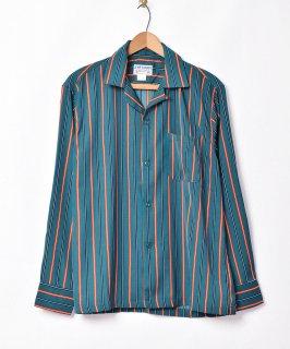 古着【3色展開】「TEMPTATION」ストライプ柄 オープンカラー 長袖シャツ グリーン 古着のネット通販 古着屋グレープフルーツムーン