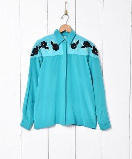 古着80's シルク×レザーデザインシャツ 古着のネット通販 古着屋グレープフルーツムーン