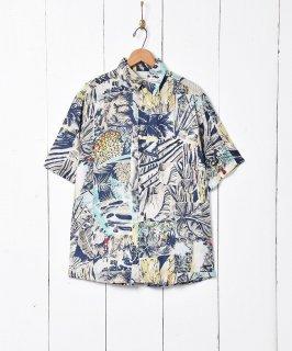 古着ボタニカル柄 半袖シルクシャツ 古着のネット通販 古着屋グレープフルーツムーン