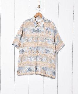 古着イギリス製 総柄半袖シャツ 古着のネット通販 古着屋グレープフルーツムーン