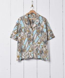 古着スカーフ柄 オープンカラー 半袖シャツ 古着のネット通販 古着屋グレープフルーツムーン
