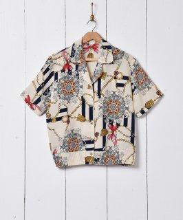 古着チェーン柄 オープンカラー 半袖シャツ 古着のネット通販 古着屋グレープフルーツムーン