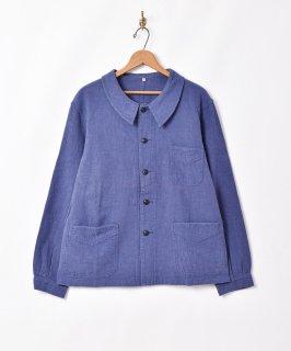古着「Backers」コットンリネン ユーロワークジャケット ブルー 古着のネット通販 古着屋グレープフルーツムーン