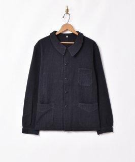 古着「Backers」コットンリネン ユーロワークジャケット ブラック 古着のネット通販 古着屋グレープフルーツムーン