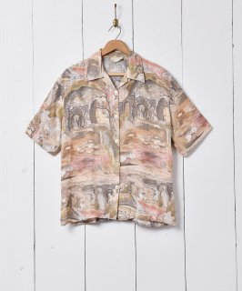 古着水彩画風 総柄 オープンカラー 半袖シャツ 古着のネット通販 古着屋グレープフルーツムーン
