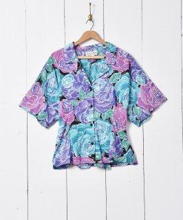 古着大花柄 オープンカラー 半袖シャツ 古着のネット通販 古着屋グレープフルーツムーン
