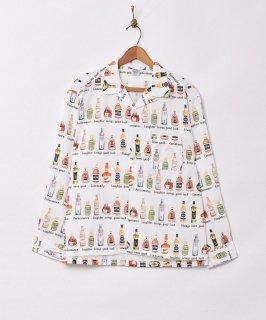 古着「TEMPTATION」リキュール 総柄 オープンカラー 長袖シャツ 古着のネット通販 古着屋グレープフルーツムーン
