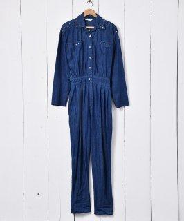 古着スタッズ ビジュー装飾 デニムオールインワン 古着のネット通販 古着屋グレープフルーツムーン