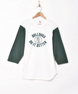 古着七分袖 ブルドッグプリント ベースボールTシャツ 古着のネット通販 古着屋グレープフルーツムーン