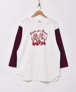 古着七分袖 ローラースケートプリント ベースボールTシャツ 古着のネット通販 古着屋グレープフルーツムーン
