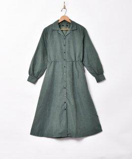 古着【2色展開】「Meridian」ピーチスキン 開襟 長袖ワンピース グリーン 古着のネット通販 古着屋グレープフルーツムーン