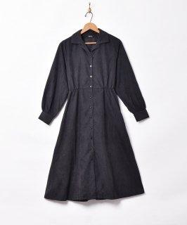 古着【2色展開】「Meridian」ピーチスキン 開襟 長袖ワンピース ブラック 古着のネット通販 古着屋グレープフルーツムーン