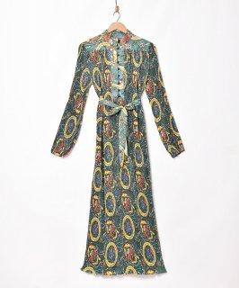 古着「Meridian」オリエンタルパターン プリーツ ワンピース 古着のネット通販 古着屋グレープフルーツムーン