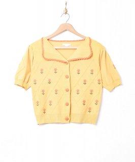 古着「Elcamino」花刺繍 半袖ニットカーディガン 古着のネット通販 古着屋グレープフルーツムーン