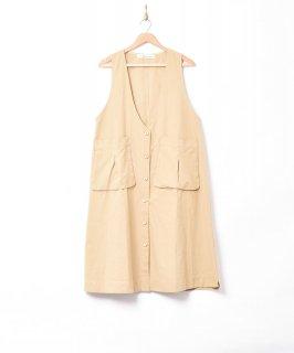 古着【2色展開】「Elcamino」ビッグポケット ノースリーブワンピース ベージュ 古着のネット通販 古着屋グレープフルーツムーン