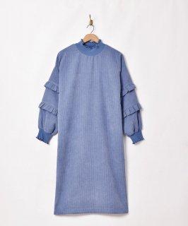 古着【5色展開】「Elcamino」コーデュロイ  ロングスリーブワンピース ブルー 古着のネット通販 古着屋グレープフルーツムーン