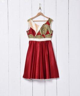 古着アフリカンバティック×サテン ノースリーブドレス 古着のネット通販 古着屋グレープフルーツムーン