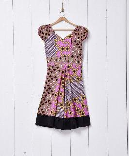 古着アフリカンバティック パフショルダードレス 古着のネット通販 古着屋グレープフルーツムーン