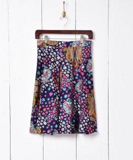 古着ペイズリー×花柄 フレアミニスカート 古着のネット通販 古着屋グレープフルーツムーン
