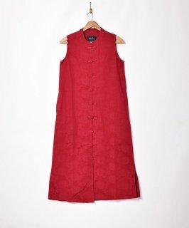 古着【3色展開】「Meridian」織り柄 チャイナデザイン ノースリーブワンピース ワインレッド 古着のネット通販 古着屋グレープフルーツムーン