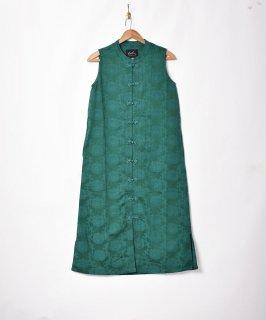 古着【3色展開】「Meridian」織り柄 チャイナデザイン ノースリーブワンピース グリーン 古着のネット通販 古着屋グレープフルーツムーン