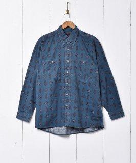 古着小紋柄 長袖シャツ 古着のネット通販 古着屋グレープフルーツムーン