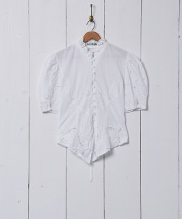 古着レースアップ 半袖 ホワイトブラウス 古着のネット通販 古着屋グレープフルーツムーン