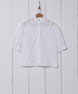 古着カットワークデザイン 半袖 ホワイトブラウス 古着のネット通販 古着屋グレープフルーツムーン