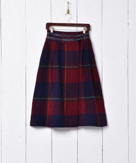 古着ベルトデザイン チェック柄 ウールスカート 古着のネット通販 古着屋グレープフルーツムーン