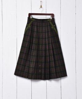 古着チェック柄 ウールスカート 古着のネット通販 古着屋グレープフルーツムーン