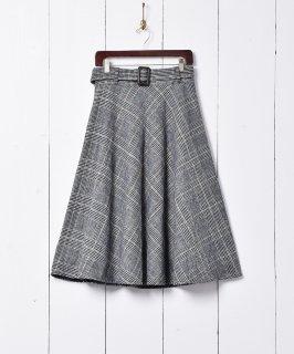 古着ベルト付き グレンチェック柄 サーキュラースカート 古着のネット通販 古着屋グレープフルーツムーン