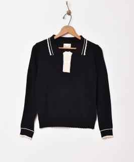 古着【2色展開】「Elcamino」ダブルボタン 長袖ニットポロシャツ ブラック 古着のネット通販 古着屋グレープフルーツムーン
