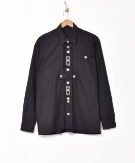 古着【3色展開】長袖 チロリアン刺繍シャツ ブラック 古着のネット通販 古着屋グレープフルーツムーン