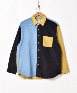 古着【3色展開】「TEMPTATION」クレイジーパターン コーデュロイ 長袖シャツ ブルー 古着のネット通販 古着屋グレープフルーツムーン