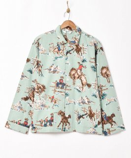 古着「Backers」カウボーイ総柄 フランネルパジャマシャツ 古着のネット通販 古着屋グレープフルーツムーン