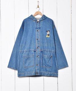 古着ミッキー刺繍 フード付き デニムコート 古着のネット通販 古着屋グレープフルーツムーン