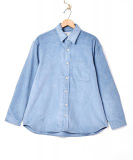 古着【7色展開】「TEMPTATION」細畝 ビッグシルエット コーデュロイシャツ サックスブルー 古着のネット通販 古着屋グレープフルーツムーン