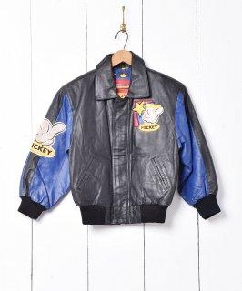 古着ミッキー レザースタジアムジャケット 古着のネット通販 古着屋グレープフルーツムーン