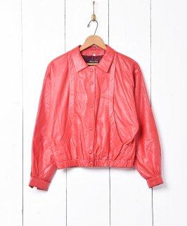 古着イタリア製 レッドレザーブルゾン 古着のネット通販 古着屋グレープフルーツムーン
