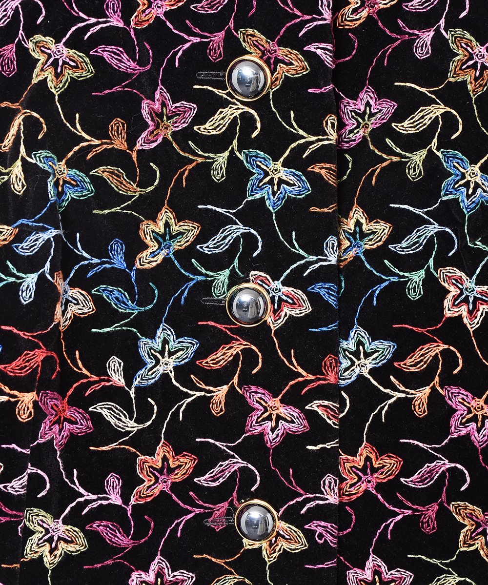 刺繍 ノーカラー ベロアジャケットサムネイル