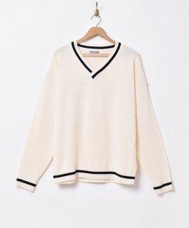 古着【4色展開】「TEMPTATION」ラインセーター ホワイト 古着のネット通販 古着屋グレープフルーツムーン