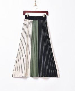 古着【2色展開】「Meridian」3色ストライプスカート グリーン 古着のネット通販 古着屋グレープフルーツムーン