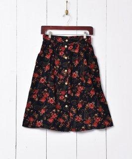古着トルコ製 花柄 コーデュロイスカート 古着のネット通販 古着屋グレープフルーツムーン