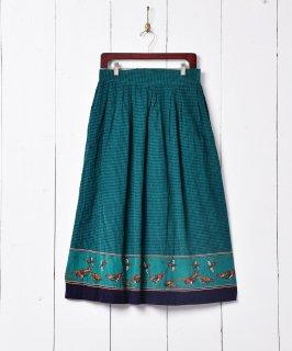 古着日本製 チェック柄 プリント コーデュロイスカート 古着のネット通販 古着屋グレープフルーツムーン