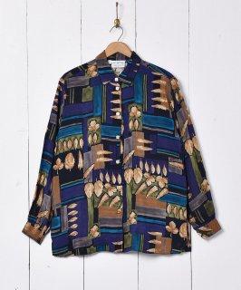 古着リーフ柄 長袖シャツ 古着のネット通販 古着屋グレープフルーツムーン