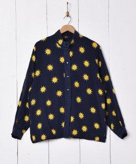 古着太陽柄 長袖 シルクシャツ 古着のネット通販 古着屋グレープフルーツムーン