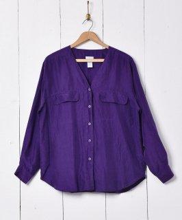 古着ノーカラー 長袖 シルクシャツ 古着のネット通販 古着屋グレープフルーツムーン