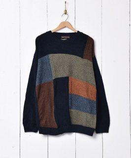 古着アメリカ製 マルチカラー コットンニットセーター 古着のネット通販 古着屋グレープフルーツムーン
