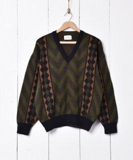 古着イギリス製 Vネック デザインセーター 古着のネット通販 古着屋グレープフルーツムーン