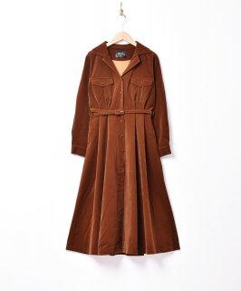 古着【4色展開】「Meridian」コーデュロイ ドレスコート ワンピース  ブラウン 古着のネット通販 古着屋グレープフルーツムーン